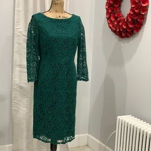 Talbots green lace long sleeves dress size 8